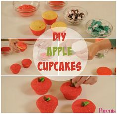 Turn regular vanilla cupcakes into adorable Macintosh apples using red frosting, sprinkles, and original and lime Tootsie Rolls. | Cute and Easy Cupcakes That Look Like Apples