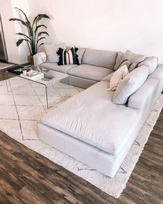 House Reveal: My Current Home Decor White Couch Living Room, Living Room Wood Floor, Living Room Area Rugs, Living Room Sectional, Rugs In Living Room, Living Room Designs, Living Room Glass Table, White Couch Decor, Grey Living Rooms