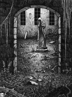 "Michael Brack ""The Yard"" ink drawing Arte Horror, Horror Art, Ink Illustrations, Illustration Art, Dark Fantasy, Fantasy Art, Scary Art, Creepy, Dark Artwork"