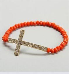 Orange Beaded Cross Bracelet