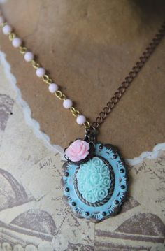 Vintage Inspired Shabby Chic Light Aqua girls necklace by ...
