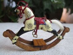 Dollhouse Miniatures ~ Handmade Small Rocking Horse by David Daws, Toy Replica
