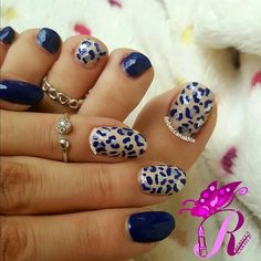 "هذه #أظافر اليوم  Here's a picture of my Tuesday Nails matching my Monday Pedi. Nude and Navy Leopard Nails and Nude and Navy Leopard Toe Nails using Saint Germain-Gel Effect Full Colour #161 in ""Evidence"""