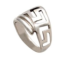 Greek key meander, meandros, sterling silver wrap ring