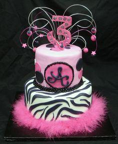Fun Pink and Zebra Birthday Cake