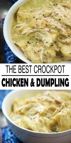 Crockpot chicken and dumplings it's easy to throw the ingredients in your slow cooker and when you return you will have a large bowl of comfort food for you. We enjoy a lot of dumplings and this particular recipe does not disappoint! Best Crockpot Chicken, Crockpot Chicken And Dumplings, Crockpot Dishes, Keto Chicken, Rotisserie Chicken, Healthy Chicken, Grilled Chicken, Baked Chicken, Chicken And Dumplings Recipe With Biscuits