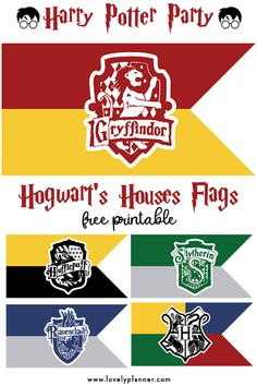 Free Printable Hogwart's House Flags - Harry Potter Party Free Printable Hogwart's Houses Flags for your Harry Potter Party decoration. Just add a wooden dowel to each, or string to create a banner. Baby Harry Potter, Harry Potter Baby Shower, Harry Potter Motto Party, Harry Potter Banner, Harry Potter Thema, Harry Potter Halloween Party, Harry Potter Classroom, Harry Potter Printables, Theme Harry Potter
