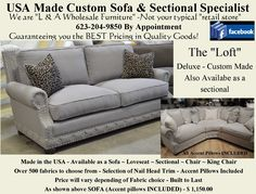 """The """"Loft"""". Available as a Sofa, Loveseat, Chair, King Chair or Sectional. Over 800 fabric options Home Furnishing Accessories, Home Furnishings, Furniture Making, Home Furniture, Fairmont Designs, King Chair, Aspen House, Parker House, Custom Sofa"""