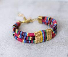 Colorful Ethnic Tribal Bracelet Colorful Multistrand