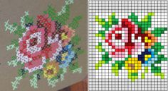 colored flowers cross stitch pattern for painting