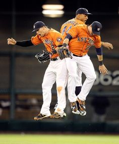 Brandon Barnes of the Houston Astros along with Justin Maxwell and Rick Ankiel celebrate after their win over the Cleveland Indians at Minute Maid Park on 19 April 2013 in Houston Texas Baseball, Baseball Playoffs, Funny Baseball, Dallas Cowboys, Baseball Cards, Sports Memes, Nfl Sports, Oakland Athletics, Oakland Raiders