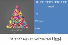 Free gift certificate templates customized online with our gift certificate maker Christmas Gift Voucher Templates, Christmas Gift Vouchers, Free Christmas Printables, Christmas Gifts, Holiday, Gift Certificate Maker, Gift Certificates, Free Gift Certificate Template, Company Gifts