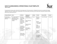 Basic Business Plan Outline Sample | GOLF CLUB BUSINESS OPERATIONAL PLAN TEMPLATE Basic Outline An