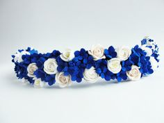 Cobalt Blue and Ivory Wedding Bridal Hair от FlowerFromEugene