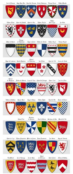 Modern illustration of The Dering Roll of Arms - Made between 1270 and 1280 -.Panel 3 - arms 109 to 162