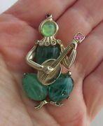 Vintage Coro Corocraft Flawed Emerald Harlequin & Guitar Lute Pin Brooch