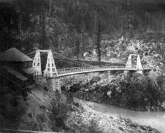 The old Alexandria Bridge built in the 1863 by the Royal Engineers. The Bridge is crossing over the Fraser River and can still be seen today. Fraser Canyon, Fraser River, Royal Engineers, Western Canada, Canadian History, O Canada, History Facts, Great Pictures, Countries Of The World