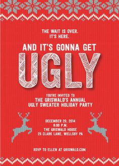 Holiday Ugly Sweater Party Invitation by DenimGraphics on Etsy