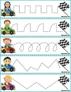 Trace The Pattern: Race Cars To Checkered Flag - kinder - Transport Transportation Preschool Activities, Car Activities, Toddler Learning Activities, Teaching Kids, Kids Learning, Preschool Writing, Preschool Worksheets, Community Helpers Worksheets, Abc Tracing