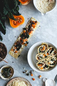 Four Cheese Vertical Roll Lasagna + Butternut Squash, Sausage & Kale