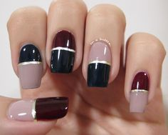 Stylish Nail Design Color Block With Glossy Blue And Maroon And Pale Pink Colors Combination Also Gold Striping Tape Idea