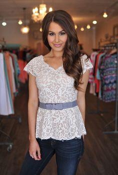 Dottie Couture Boutique -  Lace Peplum, $58.00 (http://www.dottiecouture.com/lace-peplum-1/)