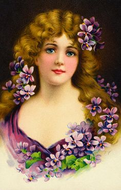 Lady with violets #Victorian #vintage illustration