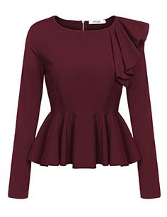 Meaneor Women's Ruffles Peplum Long Sleeve Dressy Blouse Tops (Medium, Wine Red): strongSize Information (just for reference):/strongbr / br / S: Shoulder Bust Waist Sleeve Length / br / M: Shoulder Bust Waist Sleeve Length / br / L: Shoulder Bust Wais. Look Fashion, Hijab Fashion, Fashion Dresses, Fashion Ideas, Long Sleeve Peplum Top, Long Sleeve Shirts, Peplum Shirts, Peplum Tops, Ruffle Shirt