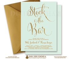 STOCK THE BAR Invitation Mint & Gold Glitter Engagement Couples Shower Elegant Mint Green Calligraphy Free Shipping or DiY Printable - Mila