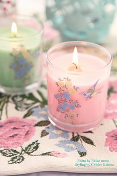 Pretty votive candles. #pastel #floral