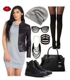 """""""Dress&converse"""" by keila-87 on Polyvore featuring moda, Michael Kors, Converse, Alexander Wang, Boohoo, Lime Crime, Burberry, Repossi e Sparkling Sage"""