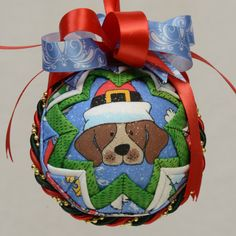 Holiday Puppies Christmas Ornament Quilted by CelebrateWithVicki