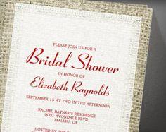 Red White Vintage Burlap Bridal Shower Invitation