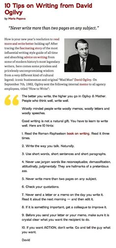 "Ten writing tips from David Ogilvy--the original ""Mad Man."""
