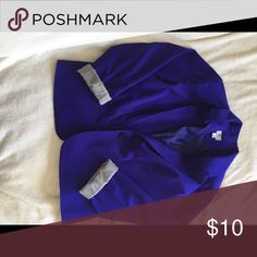 Blue Blazer Bright Persian Blue Blazer with brown and white striped interior Worthington Jackets & Coats Blazers