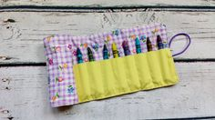 crayon roll- purple flowers- kids crayon keeper -stocking stuffer -birthday gift -back to school - pinned by pin4etsy.com