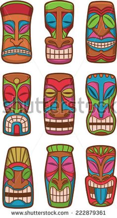 Hawaiian tiki god statue carved polynesian tikki ku lono wood set vector illustration. - stock vector