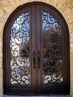 29 Best Ideas For Double Door Design Entrance Wrought Iron Iron Front Door, Double Front Doors, Front Door Entrance, Door Entryway, House Front Door, House Doors, House Entrance, Double Doors Entryway, Double Door Design