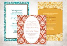 Bold Damask Wedding Invitations