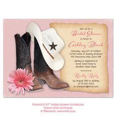 Cowboy Boots Hat Daisy Country Western Pink Brown Bridal Shower Invitation - Printed invitation comes with envelopes.