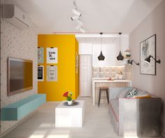 Colour-blocking: Creating room in small spaces http://www.home-designing.com/2016/07/colour-blocking-creating-room-in-small-spaces