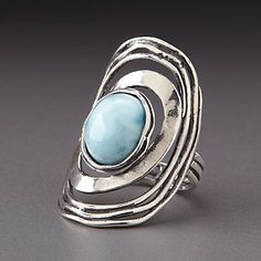 Shablool Sterling Silver Larimar Ring by Lenox - (OMG I LOVE THIS mk)