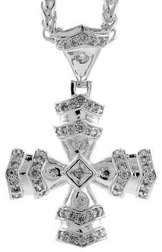 12461 usd sterling silver jesus carrying the cross pendant 3 by 8237 usd sterling silver cubic zirconia heraldry cross by worldjewels aloadofball Image collections