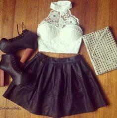 Shirt: lace top crop tops white black skirt high heels shoes lita studded purse cluth jeffery
