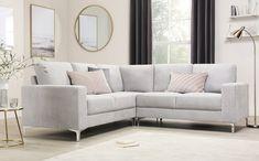 Baltimore Dove Grey Plush Fabric Corner Sofa Only White Bedroom Furniture, Find Furniture, Sofa Furniture, Fabric Sofa, Black Leather Bed, White Corner Sofas, Black And White Corner Sofa, Corner Sofa Living Room