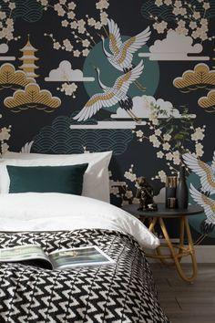 black bedroom with patterned wallpaper - Trendir