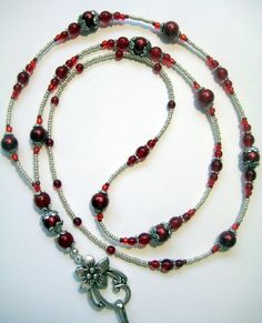 Red and Silver Beaded Badge Lanyard ID Badge Holder, via Etsy.