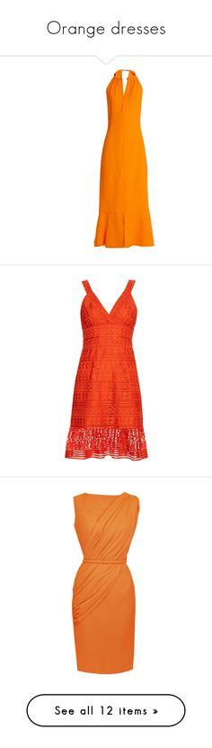 """""""Orange dresses"""" by capfan2014 on Polyvore featuring orange, dresses, formal dresses, yellow, open-back dresses, yellow orange dress, open back midi dress, mid calf dresses, proenza schouler dress and red knee length dress"""