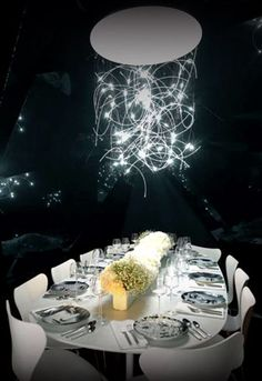 Modern Chandelier Centerpiece | #eventprofs www.MonasEventDosAndDonts.com/blog | Corporate Event Planning & Blog
