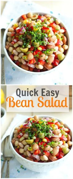 This quick easy bean salad makes a great side or easy dinner for your warm summer evening. primaverakitchen.com